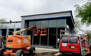 Kawneer fabricated storefront frame glass