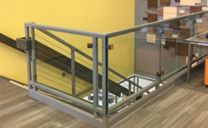 Glass railing for stairway