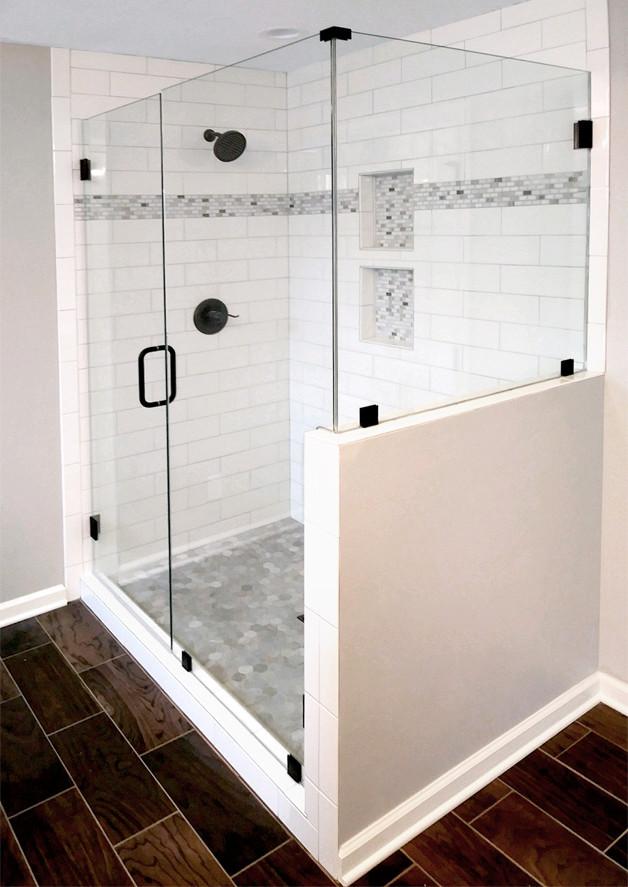 Elegant custom showers no header no channel