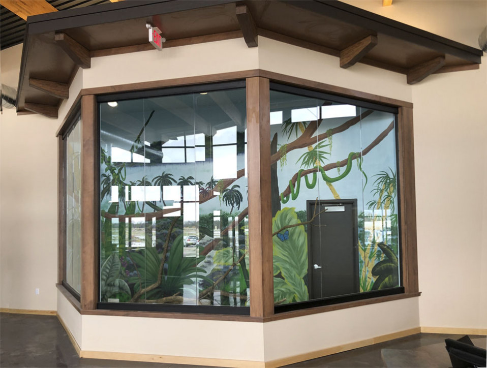 Interior glass system at daycare facility