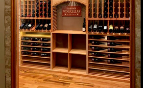 Arched cabinet window for wine rack