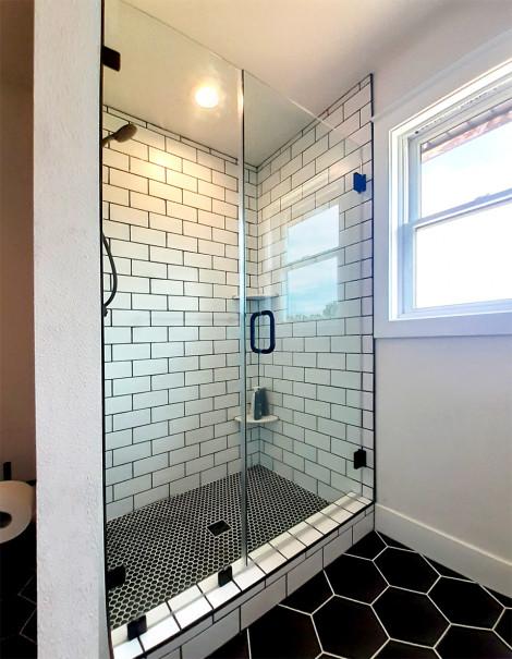 Custom no header shower doors