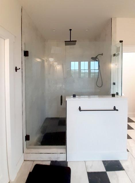 Custom matte black finish shower