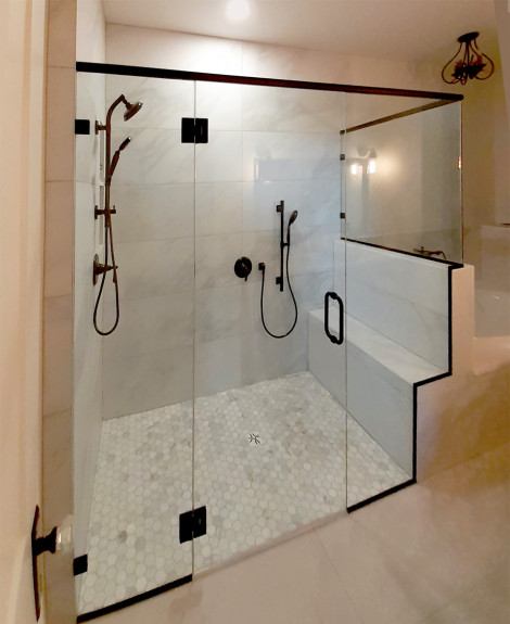 Custom corner panel shower with clips