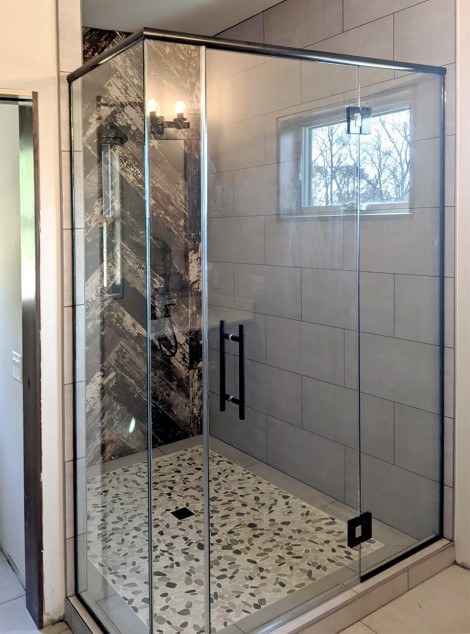 Custom shower with black hardware