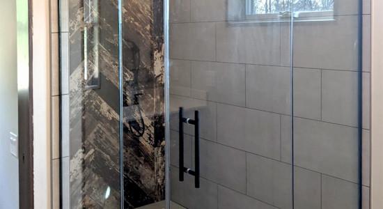 Custom shower with black hardware
