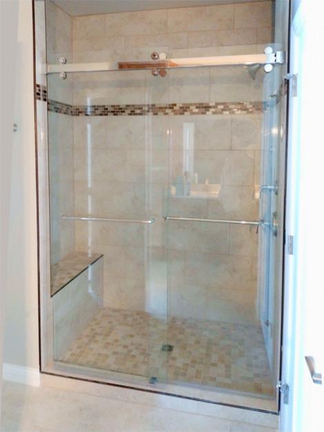 Heavy glass shower with custom slider