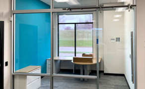 Custom glass barn door sliding office doors
