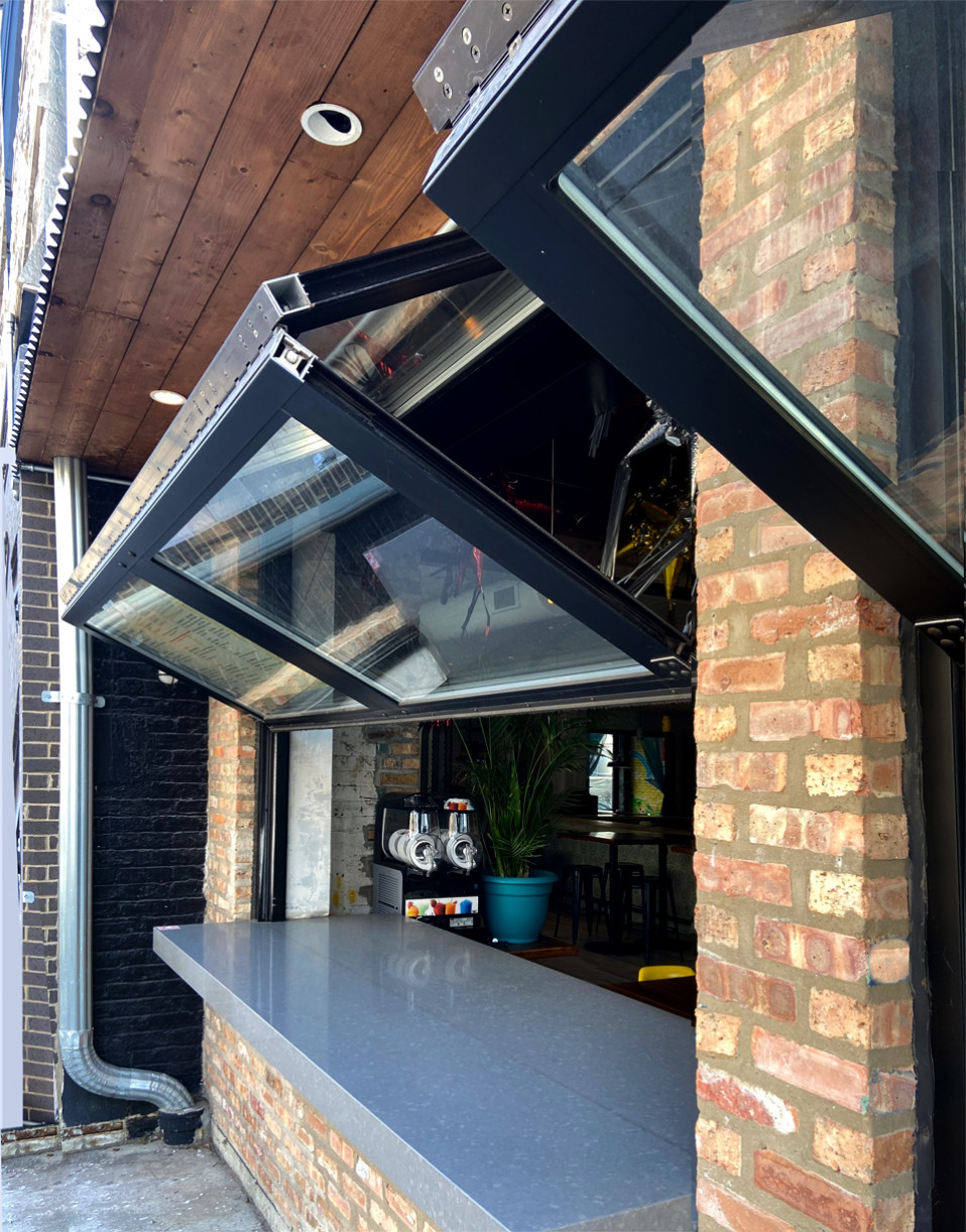 pick up counter with foldable garage doors
