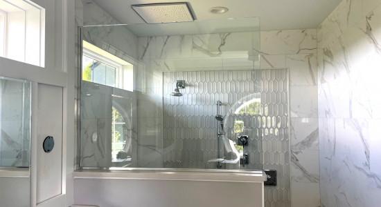 Large beautiful doorless shower