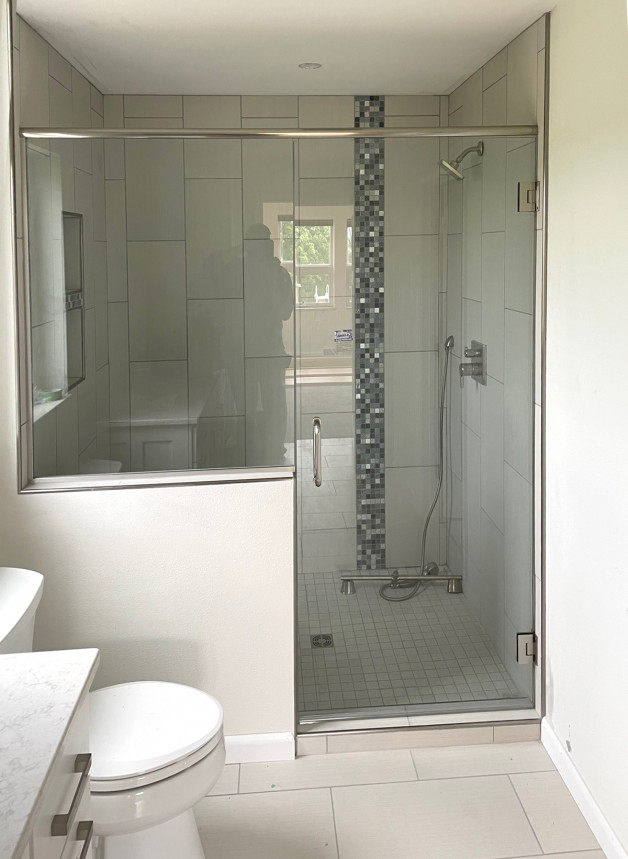 shower door and pony wall glass (chrome hardware)