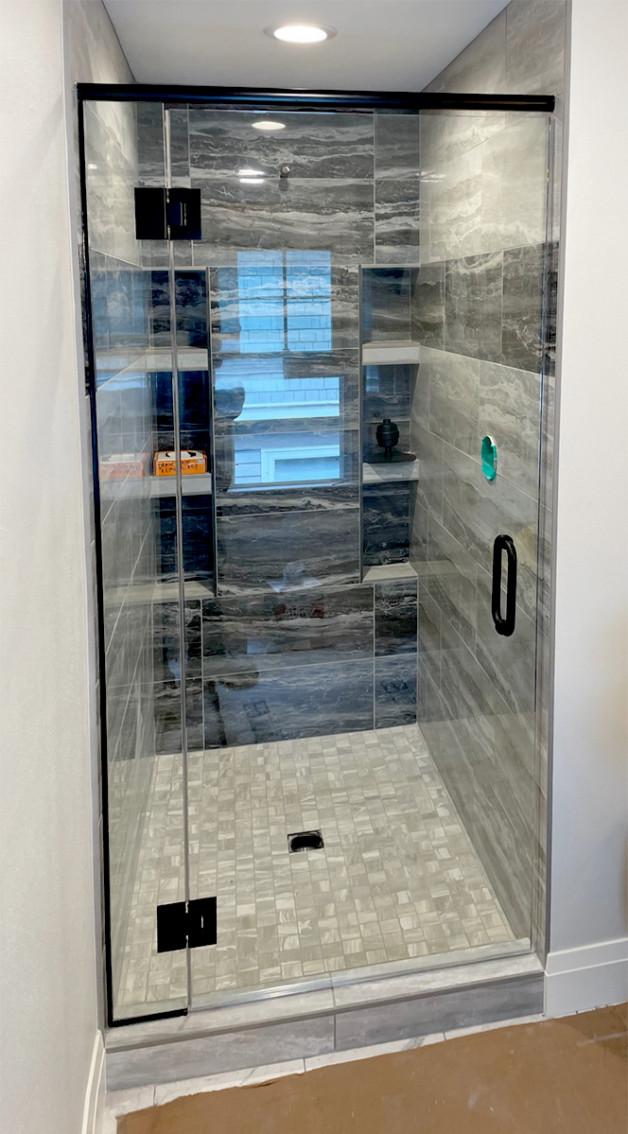 custom small shower door - black finishes