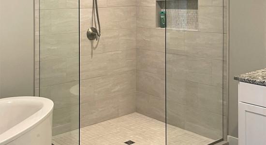 Neo angle corner shower enclosure (without door)