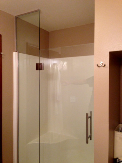 Custom glass in a fiberglass shower insert.