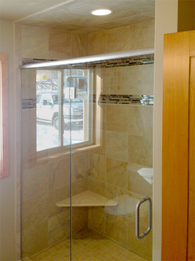 Custom shower with brushed nickel hardware