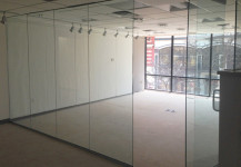 Glass wall in office space
