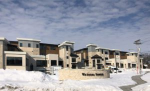 Wabesa Shores - newly constructed building in snow